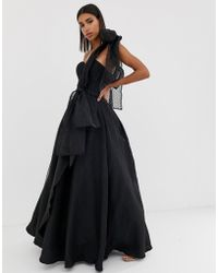 Bariano - Full Prom One Shoulder Maxi Dress With Detachable Bow Detail In Black - Lyst