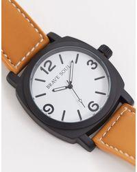 Brave Soul Часы С Коричневым Ремешком И Белым Циферблатом -коричневый