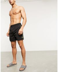 French Connection Swim Short With Neon Taping - Blue