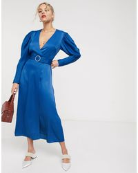& Other Stories Pearl Buckle Belted Midi Dress - Blue
