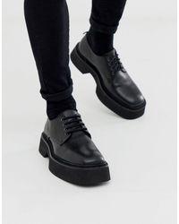ASOS Chaussures en cuir à lacets avec bout carré et semelle épaisse color block - Noir