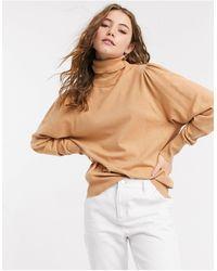 ASOS Maglione color cammello con collo alto e apertura sulla schiena - Neutro