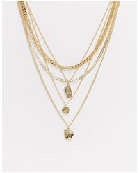 ASOS Layered Neckchain Pack With Charms - Metallic