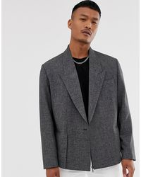 ASOS Rechte Oversized Cropped Double-breasted Blazer - Grijs