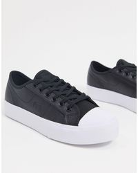 Lacoste Ziane Leather Lace Up Trainers - Black