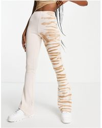 TOPSHOP Co-ord Half And Half Zebra Flared Trouser - Natural