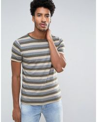 Mango - Man Striped T-shirt In Navy And Green - Lyst