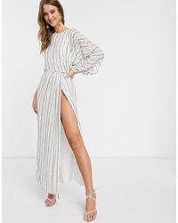 ASOS - Studded Linear Midaxi Dress With Drape Sleeve - Lyst