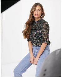 Oasis Floral Print Blouse - Blue