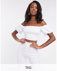 Vesper Bardot Crop Top With Puff Sleeve Co Ord - White
