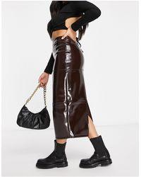 ASOS Denim Midi Skirt - Black