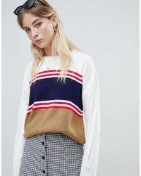 Daisy Street - Relaxed Jumper With Vintage Stripe Panels - Lyst