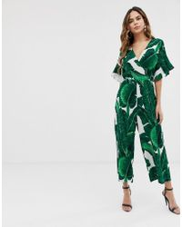AX Paris Leaf Print Jumpsuit - Green