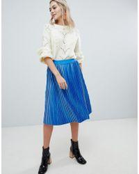 Soaked In Luxury Velvet Pleated Skirt - Blue