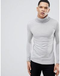 River Island | Roll Neck Fine Knit Sweater In Gray Marl | Lyst