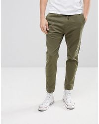Hollister Cuffed Twill Stretch Jogger In Forest Night Olive - Green