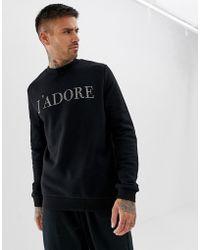 ASOS Tall Sweatshirt With Jadore Slogan In Crystals - Black