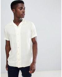 Produkt Revere Collar Short Sleeve Summer Shirt - Yellow