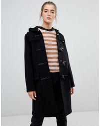 Gloverall – Original – Langer Mantel aus Wollmischung - Schwarz