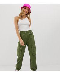 Bershka Pantalon cargo à poches - Kaki - Vert