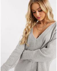 PrettyLittleThing Oversized Sweat Midi Dress With Split Front - Grey
