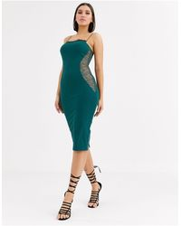 ASOS Lace Contour Midi Dress-green