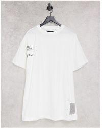 Liquor N Poker T-shirt oversize double épaisseur à imprimé positionné - Blanc