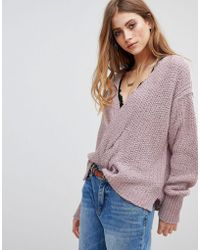 Free People - V-neck Relaxed Jumper - Lyst