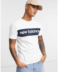 New Balance Белая Футболка С Логотипом В Форме Полосы -черный Цвет