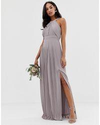TFNC London - Эксклюзивное Серое Платье Макси Для Подружки Невесты С Плиссировкой -серый - Lyst