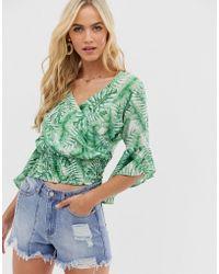AX Paris Tropical Print Wrap Blouse - Green