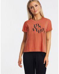 Blend She Camiseta con eslogan Los Angeles en marrón