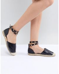 Truffle Collection - Studded Ankle Strap Espadrille - Lyst