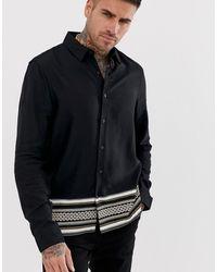 New Look Черная Рубашка Классического Кроя С Принтом В Стиле Барокко - Черный