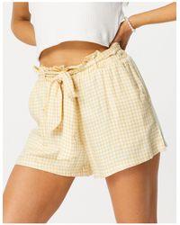 Hollister Gingham Tie Waist Short - Yellow