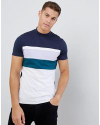 ASOS - T-shirt With Color Block And Turtleneck - Lyst