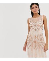 Amelia Rose Vestido largo sin mangas con adorno en melocotón claro - Rosa