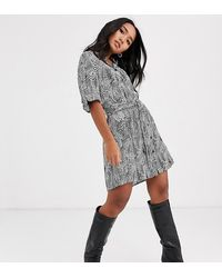 TOPSHOP Petite Belted Shirt Dress - Multicolour