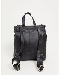 Urbancode Leather Two Pocket Backpack - Black