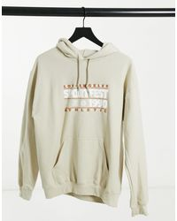 Daisy Street Oversized Hoodie With Vintage Sportfest Print - Natural