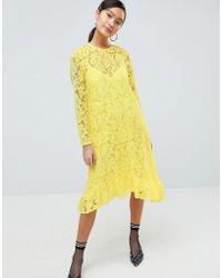 ASOS Lace Midi Swing Dress With Ruffle Hem - Yellow