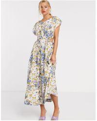& Other Stories Midi-jurk Met Retro Bloemenprint En Uitsnijding - Meerkleurig