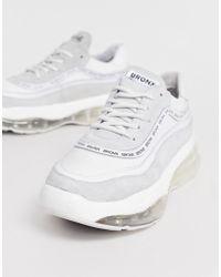 Bronx - Bubbly - Baskets en daim avec semelles à bulles - Blanc et gris - Lyst