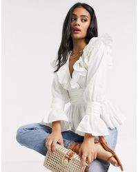 ASOS Long Sleeve V Neck Top With Ruffle And Ruched Waist Detail - White