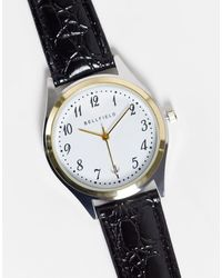 Bellfield Men's Watch With Leather Strap And White Dial - Black