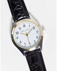 Bellfield – Herrenuhr mit schwarzem Armband und weißem Zifferblatt