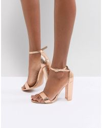 Glamorous - Rose Gold Barely There Block Heeled Sandals - Lyst