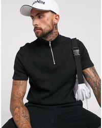 ASOS Short Sleeve Sweatshirt With Half Zip - Black