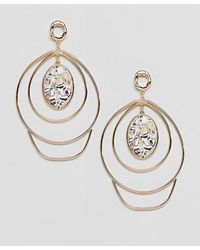 ASOS - Statement Earrings In Abstract Twist Wire Design And Large Stone Detail In Gold - Lyst