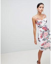 AX Paris - Double Strap Floral Bodycon Dress - Lyst